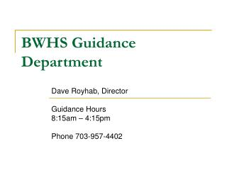 BWHS Guidance Department