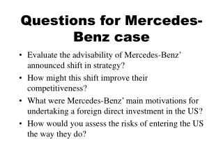 Questions for Mercedes-Benz case