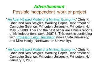 Advertisement : Possible independent  work or project