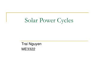 Solar Power Cycles