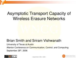 Asymptotic Transport Capacity of Wireless Erasure Networks