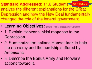 Learning Objectives: S ection 3 – Hoover Struggles with the Depression