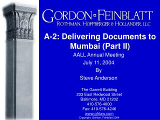 A-2: Delivering Documents to Mumbai (Part II)