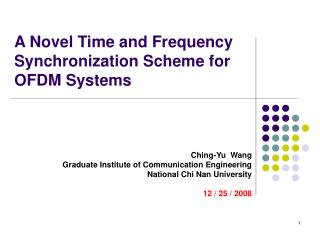 A Novel Time and Frequency Synchronization Scheme for OFDM Systems