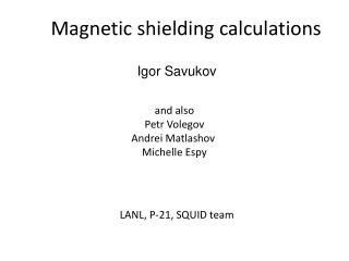 Magnetic shielding calculations