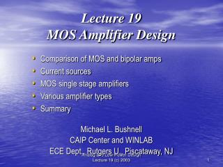 Lecture 19 MOS Amplifier Design