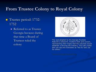 From Trustee Colony to Royal Colony