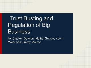 Trust Busting and Regulation of Big Business