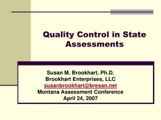Quality Control in State Assessments