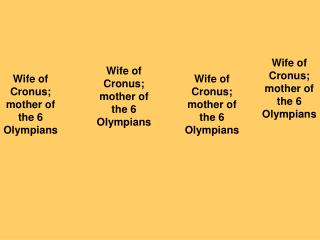 Wife of Cronus; mother of the 6 Olympians