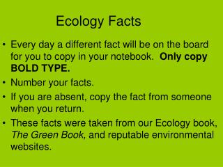 Ecology Facts