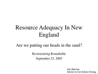 Resource Adequacy In New England