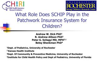 What Role Does SCHIP Play in the Patchwork Insurance System for Children?