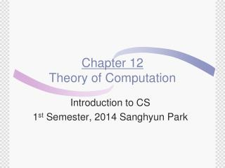 Chapter 12 Theory of Computation