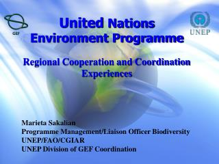 United  Nations  Environment Programme Regional Cooperation and Coordination Experiences