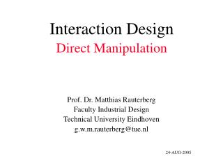 Interaction Design Direct Manipulation