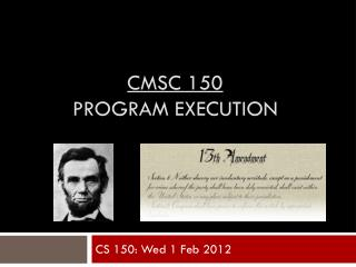 CMSC 150 program execution