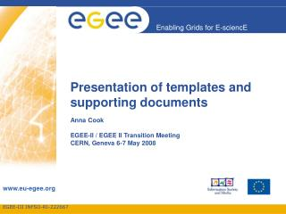 Presentation of templates and supporting documents