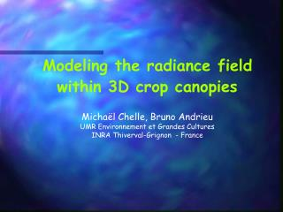 Modeling the radiance field within 3D crop canopies Michaël Chelle, Bruno Andrieu