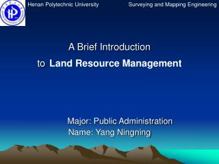 A Brief Introduction to Land Resource Management