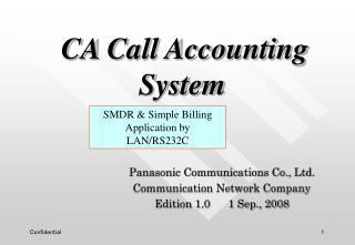 Panasonic Communications Co., Ltd. Communication Network Company Edition 1.0      1 Sep., 2008