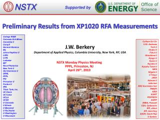 Preliminary Results from XP1020 RFA Measurements