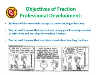 Objectives of Fraction  Professional Development: