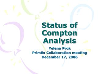 Status of Compton Analysis