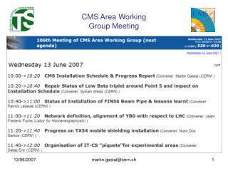 CMS Area Working  Group Meeting