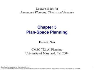 Chapter 5  Plan-Space Planning