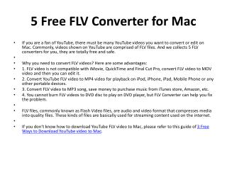Top 5 Free FLV Converter for Mac