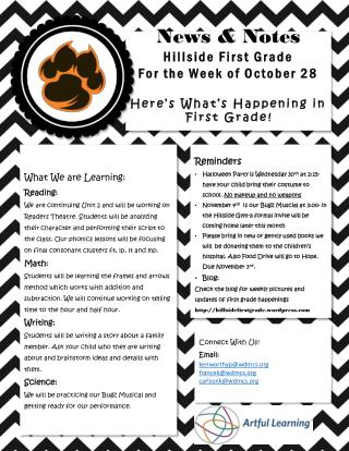 News & Notes Hillside First Grade For the Week of October 28