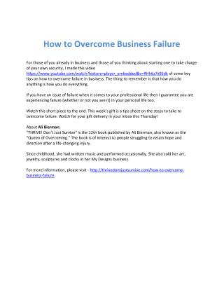 How to Overcome Business Failure