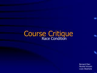 Course Critique