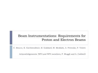 Beam Instrumentations: Requirements for Proton and Electron Beams