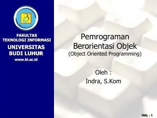 Pemrograman Berorientasi Objek (Object Oriented Programming)