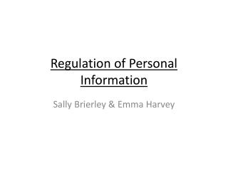Regulation of Personal Information