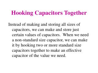 Hooking Capacitors Together