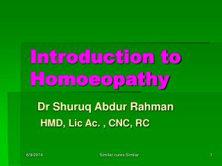 Introduction to Homoeopathy