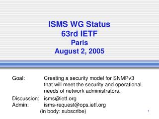 ISMS WG Status 63rd IETF Paris August 2, 2005