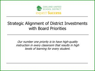 Strategic Alignment of District Investments with Board Priorities