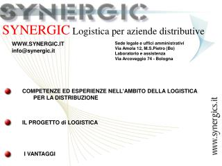 SYNERGIC  Logistica per aziende distributive