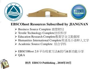 EBSCOhost Resources Subscribed by  JIANGNAN