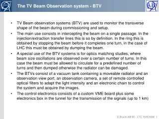The TV Beam Observation system - BTV