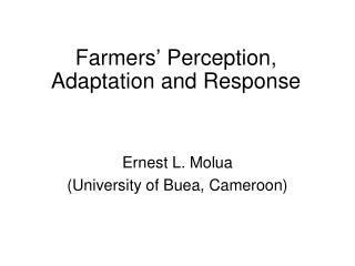 Farmers' Perception, Adaptation and Response