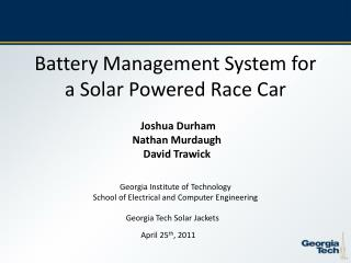 Battery Management System for a Solar Powered Race Car