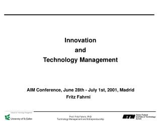 Innovation and Technology Management
