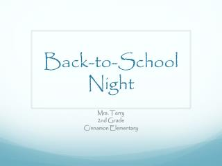 Back -to-School  Night