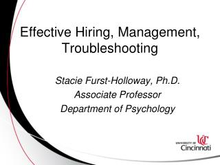 Effective Hiring, Management, Troubleshooting