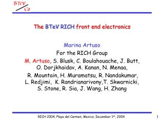 The  BTeV RICH  front end electronics